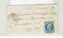 LETTRE - TP N°15 OB PC 2525 - PONTAILLER-S-SAONE 14 MAI 1854 + BOITE D LOCALE - DPT COTE D'OR - 1849-1876: Classic Period