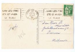 YT 280 Paix 30c Sur CP Oblitéré De Juan-Les-Pins Le 23 SEPT 1936 - 1932-39 Paix