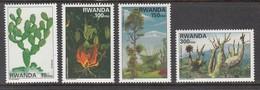 1998 Rwanda Plants Trees Cactii Complete Set Of 4 MNH - Rwanda