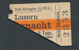 SWITZERLAND QY3370 2kl Luzern - Küssnacht 1907  ½ Fahrkarte - Chemins De Fer