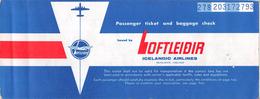 "05392 ""ICELANDIC AIRLINES - PASSENGER TICKET N° 278203172793 - LUXEMBOURG / REYKJAVIK / LUXEMBOURG - AGOSTO 1971 "" ORIG. - Biglietti Di Trasporto"