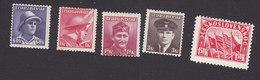 Czechoslovakia, Scott #279-281, 284, 288, Mint Hinged, Soldiers, Flags Of Russia, Great Britain, US, Czech, Issued 1945 - Czechoslovakia