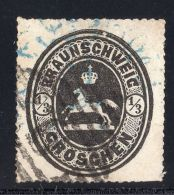 BRAUNSCHWEIG Michel #17 USED STAMP HORSE Value $550 SIGNED ENGEL Germany State - Unclassified