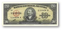 CUBA - 20 Pesos - 1960 - P 80.c - Sign. CHE GUEVARA - Serie L - Antonio Maceo - Banco Nacional De Cuba - Cuba