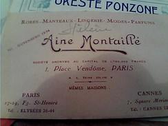 BIGLIETTO  AINE MONTAILLE PARI FRANCE LINGERIE MODES PARFUMS 1930  FY11227 - Reclame