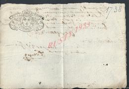 CACHET GÉNÉRALITÉ POITIERS 1738 LIRE  : - Seals Of Generality