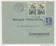 B359 - WISCHES - 1936 - Timbre Type SEMEUSE + ROUGET DE L'ISLE - Bas Rhin - - Elsass-Lothringen