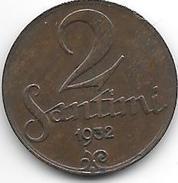 *latvia 2 Santimi 1932 Km 2  Xf+ - Lettonie
