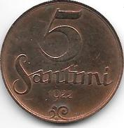 *latvia 5 Santimi 1922 With Mint Name 2 Km 3  Xf - Lettonie