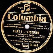 78 T. - 25 Cm - état B -  MALLOIRE - CHEZ L'PER'TRANQUILLE - VIENS A L'EXPOSITION - 78 G - Dischi Per Fonografi