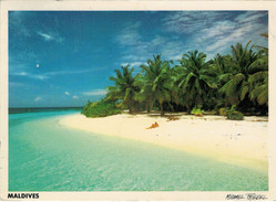 MALDIVES  ATOLLO    VEDUTA   2  SCAN       ( VIAGGIATA) - Maldive