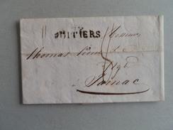 MARQUE POSTALE DE POITIERS A JARNAC DU 07 JANVIER 1820 - Marcophilie (Lettres)