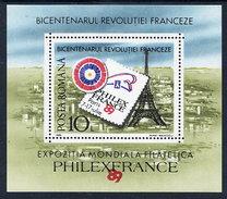 ROMANIA 1989 PHILEXFRANCE '89 Exhibition Block MNH / **.  Michel Block 256 - Blocks & Sheetlets