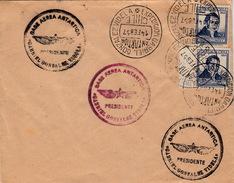 COVER CHILI LETTRE 14.FEB.1957 GONZALEZ VIDELA EXPETION GABRIEL ANTARTIDA BASE AEREA ANTARTICA - Chili