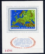 ROMANIA 1975 European Security Conference Imperforate  Block MNH / **.  Michel Block 125 - Blocks & Sheetlets