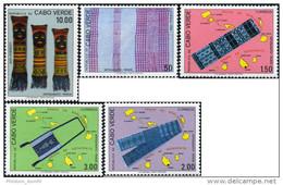 1980 Cabo Verde Cape Verde - Handicrafts 5v., Artisanat, Maps, Yv. 407/11 MNH - Costumi
