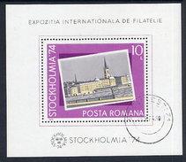 ROMANIA 1974 STOCKHOLMIA '74 Block Used.  Michel Block 116 - Blocks & Sheetlets