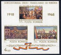 ROMANIA 1968 Reincorporation Of Transylvania  Block MNH / **.  Michel Block 68 - Blocks & Sheetlets