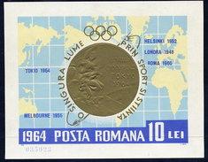 ROMANIA 1964 Olympic Medals Block MNH / **.  Michel Block 59 - Blocks & Sheetlets