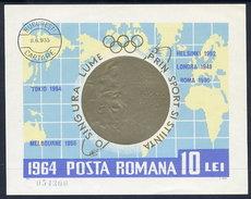 ROMANIA 1964 Olympic Medals Block, Cancelled.  Michel Block 59 - Blocks & Sheetlets
