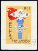 ROMANIA 1964 Olympic Games Block, Cancelled.  Michel Block 58 - Blocks & Sheetlets
