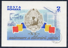 ROMANIA 1964 20th Anniversary Of Liberation From Fascism Block, Cancelled.  Michel Block 57 - Blocks & Sheetlets