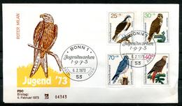 "Germany 1973 First Day Cover Mi.Nr.754/57Ersttagsbrief ""Greifvögel-Rotmilan,Fischadler,Wiesenweihe-Jugendmarken "" 1 FDC - Albatrosse & Sturmvögel"