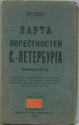 St. Petersburg Und Umgebung 1909 - Maßstab 1:126'000 - 67cm X 75cm - Strassenverzeichnis - Mehrfarbenkarte - Kyrillisch - Landkarten