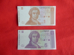 Banconote 1 Dinara Hrvatska 5 Dinara Hrvatska Croazia - Croatia