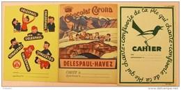 Lot De 3 Protège-cahiers. Chocolat Corona Et Delespaul Havez, Bonbons Pie Qui Chante. - Chocolat