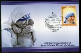 India 2016 Saint Mother Teresa Canonization Nobel Prize  Max Card # 8008