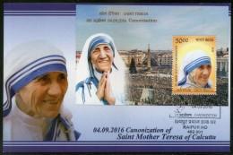 India 2016 Saint Mother Teresa Canonization Nobel Prize M/s On Max Card # 7841 - Mother Teresa
