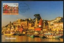 India 2016 Varanasi Holy City River Gagnga Hindu Mythology Temple Max Card # 16487 - Hinduism