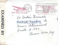 65219 US NEW YORK COVER YEAR 1942 FRANQUEO MECANICO BONOS DE GUERRA CIRCULATED TO ARGENTINA  NO POSTAL POSTCARD - Vereinigte Staaten
