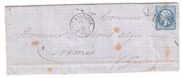 Lettre De CIREY S VEZOUZE , Meurthe Et Moselle ( Cachet Facteur E = BERTRAMBOIS ), 13 SEPT 1866 > Nimes - Postmark Collection (Covers)