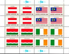 United Nations NY MNH 1982 Scott #374-#377 Flags: Austria, Malaysia, Seychelles, Ireland - Neufs