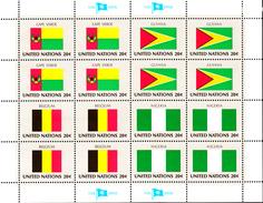 United Nations NY MNH 1982 Scott #386-#389 Flags: Cape Verde, Guyana, Belgium, Nigeria - Neufs