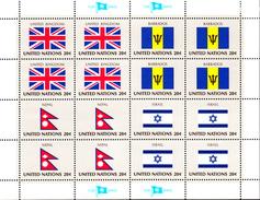United Nations NY MNH 1983 Scott #399-#402 Flags: United Kingdom, Barbados, Nepal, Israel - New-York - Siège De L'ONU