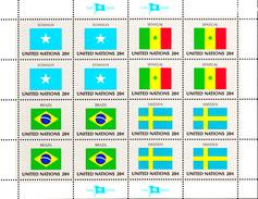 United Nations NY MNH 1983 Scott #411-#414 Flags: Somalia, Senegal, Brazil, Sweden - Ongebruikt