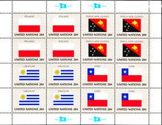 United Nations NY MNH 1984 Scott #433-#436 Flags: Poland, Papua New Guinea, Uruguay, Chile - New-York - Siège De L'ONU
