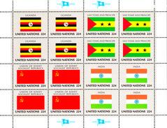 United Nations NY MNH 1985 Scott #454-#457 Flags: Uganda, Sao Tome And Principe, USSR, India - Neufs