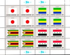 United Nations NY MNH 1987 Scott #503-#506 Flags: Japan, Gabon, Zimbabwe, Iraq - Neufs