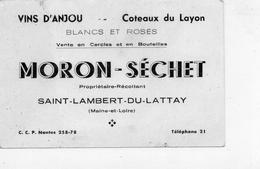 """St-Lambert-du-Lattay.. Carte De Visite """"Moron-Séchet"""" Propriétaire Récoltant Vins D'Anjou Coteaux Du Layon - Cartoncini Da Visita"""