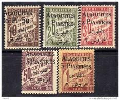 Alaouites Taxe N° 1 / 5  X Timbres De France De 1893  Surchargés La Série Des 5 Valeurs Charnière Moyenne Sinon TB