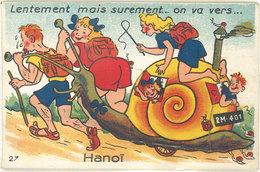 Cpsm Vietnam, Villes / Système Dépliant – On Va Vers Hanoï … ( Escargot ) - Viêt-Nam