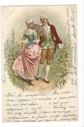 16253 - Couple Femme à L'éventail Envoyée En 1900 - Couples