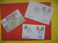 Lot De 3 ENVELOPPES  PREMIER JOUR SABINE DE GANDON Dont Le 0.40 Cts Brun Foncé Sans Bande De Phosphore - FDC