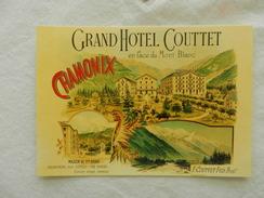 CPM    Publicitaire   Gd Hotel COUTTET  CHAMONIX    REPRODUCTION - Werbepostkarten