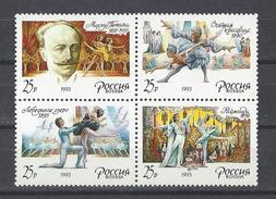 RUSSIE . YT 5977/5980 Neuf ** 175e Anniversaire De La Naissance Du Chorégraphe Marius Petipa 1993 - 1992-.... Fédération