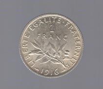 Pièce De1 Franc Argent 1916 France,  - Ref, B65 - France